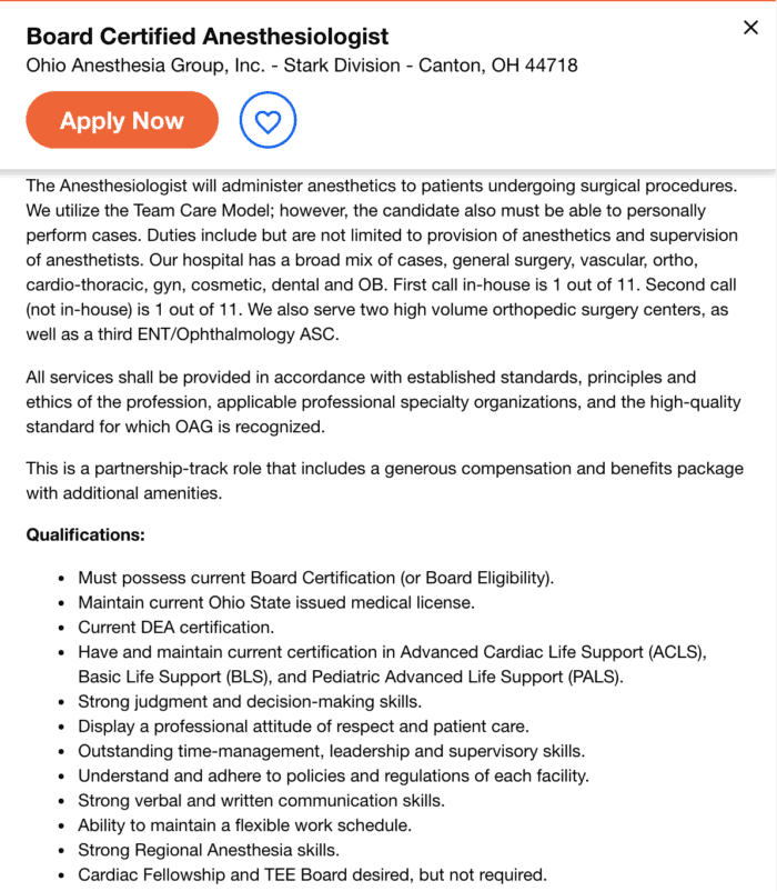 anesthesiologist job description