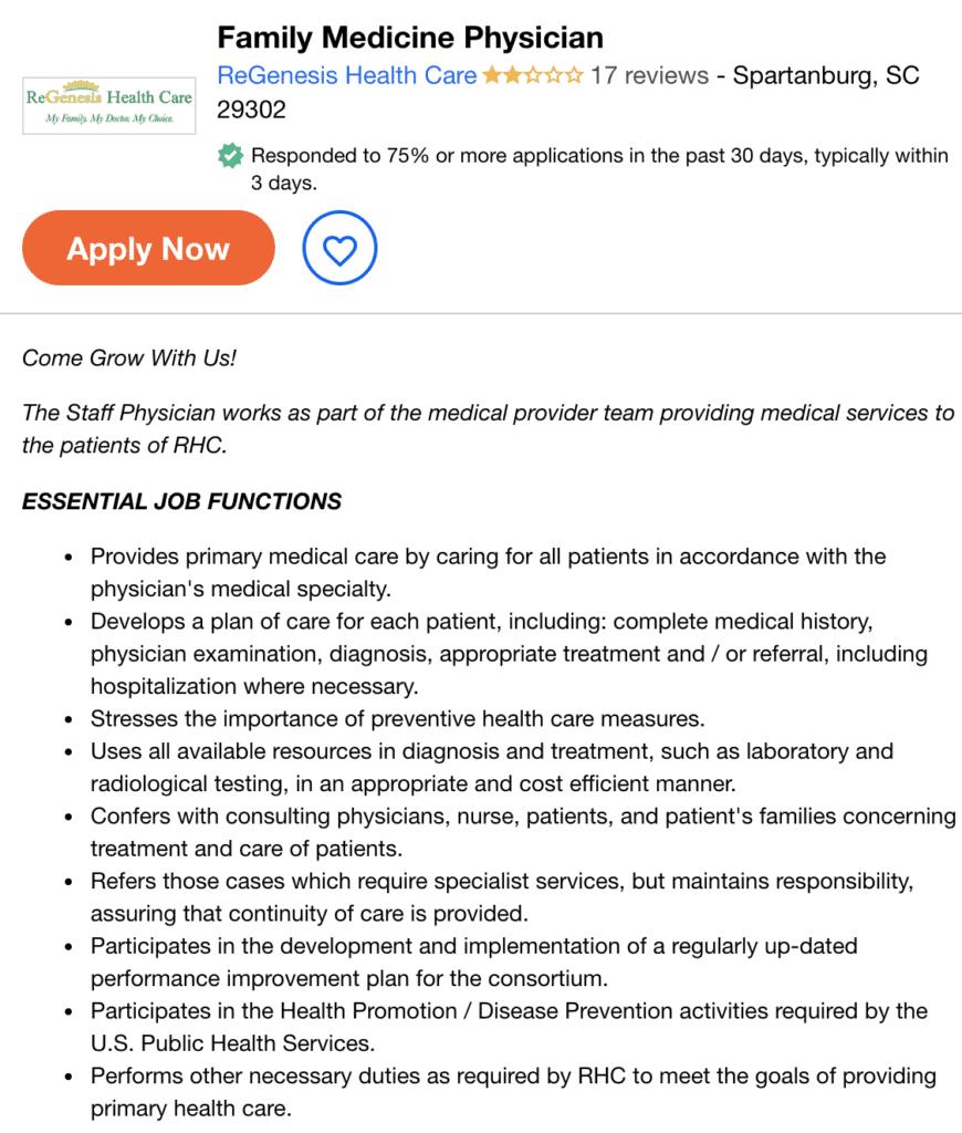 family physician job description