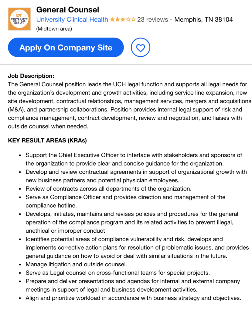 general counsel job opening