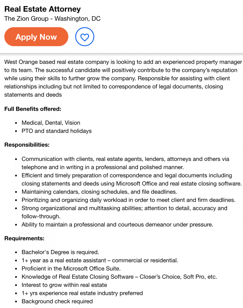 real estate attorney job opening