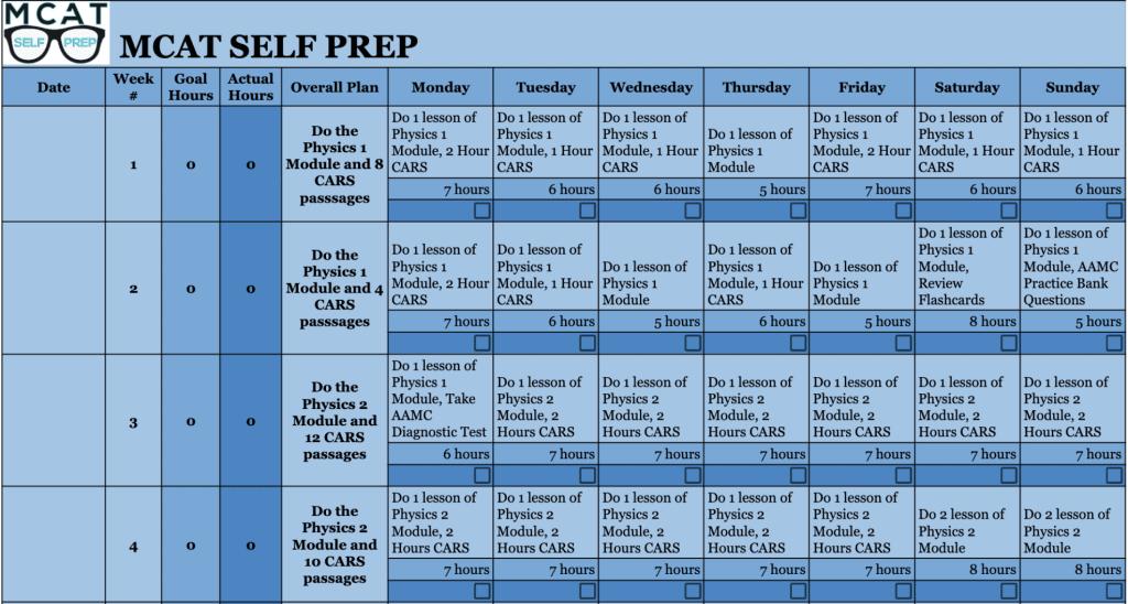 mcat study schedule 3 months